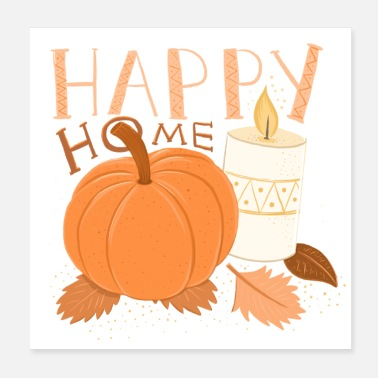 Fall Pumpkin HAPPY HOME Pumpkin and Candle alight HYGGE - Poster