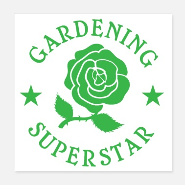 Superstar Gardening Superstar with stars and rose flower - Poster