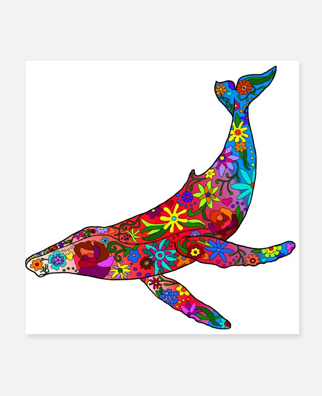 Humpback Posters - Humpback Whale filled with flowers - version 2 - Posters white