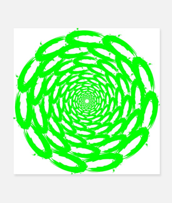 Circle Posters - Optical illusion deep circle design green - Posters white