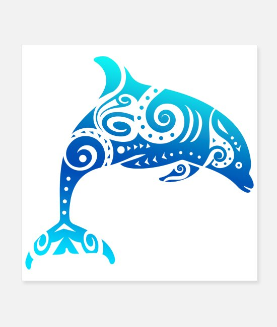 Friendship Posters - Maori Dolphin Polynesian Tribal Tattoo Gift Idea - Posters white