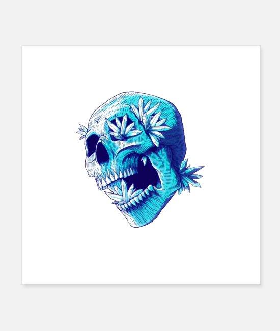 Skull And Crossbones Posters - Blue screaming skull - Posters white