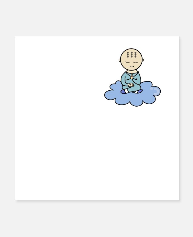 Wisdom Posters - Monk a little boy sitting on the clouds with peace - Posters white