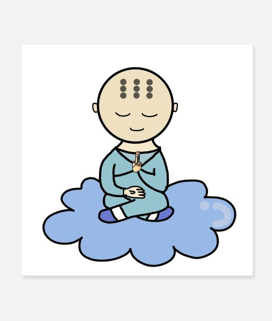 Travel Posters - Smiling peaceful monk meditating (majesty or sky ) - Posters white