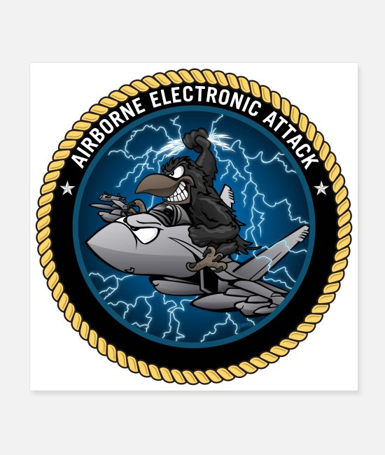 Ea-18 Posters - Airborne Electronic Attack EA-18 Growler Cartoon - Posters white