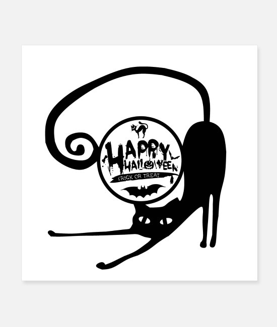 Wall Posters - happy halloween cat gift idea wallpaper poster - Posters white