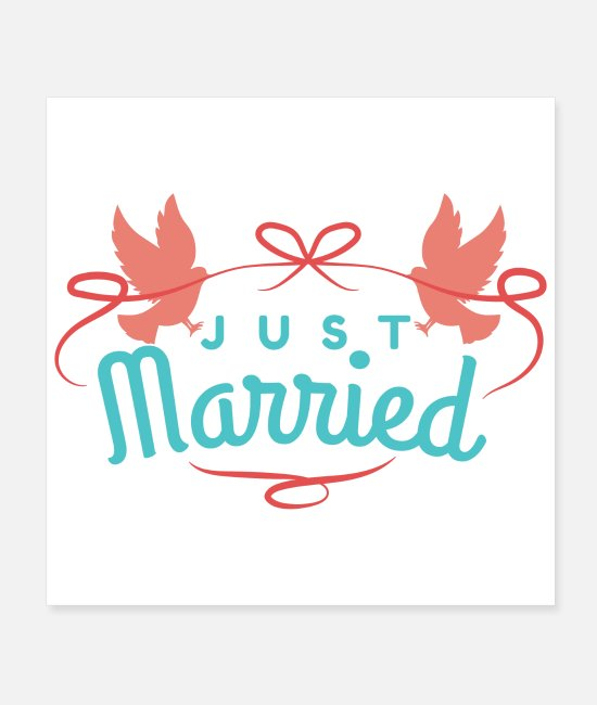 Wedding Day Posters - Wedding Just Married Two Birds Colourful Gift Idea - Posters white