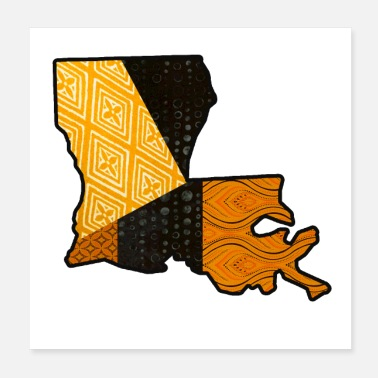 Black And Gold Black and Gold Vintage Louisiana State Map - Poster