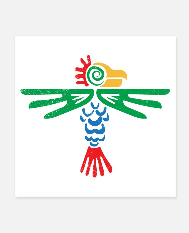 Civilization Posters - Aztec Symbol Eagle Tribal Design Gift Idea - Posters white