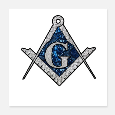 Fraternity Free Mason Masonic Blue African Print Compass - Poster