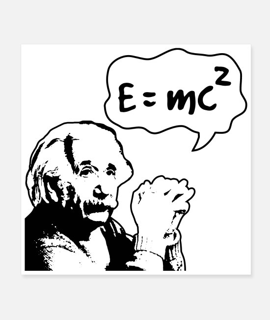 Mass Posters - Math Symbols Mass Energy Equivalence Einstein Gift - Posters white