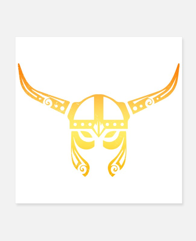 Vikings Posters - Viking Helmet Warrior Tattoo Vikings Gift Idea - Posters white