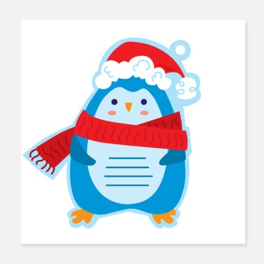 Tag Christmas tag with penguin - Poster