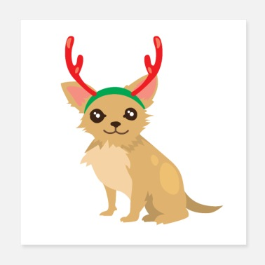 Antler Christmas dog with reindeer antlers - Poster
