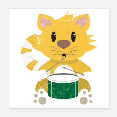 Drummer Boy Cat Drummer Cat Music Lover Kids Gift Idea - Poster