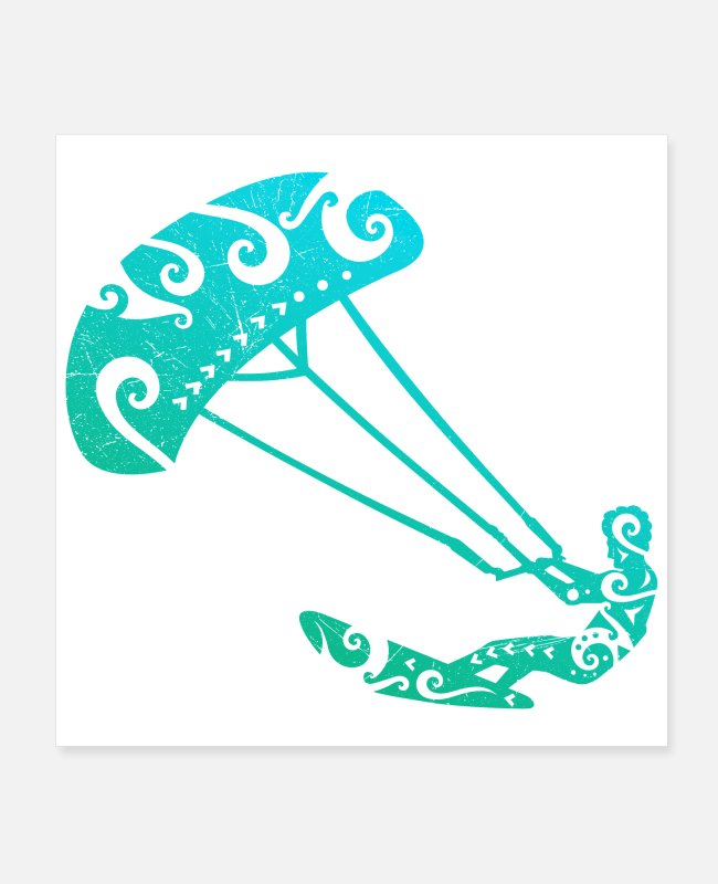 Designs Posters - Maori Kite Surfer Tribal Tattoo Gift Idea - Posters white
