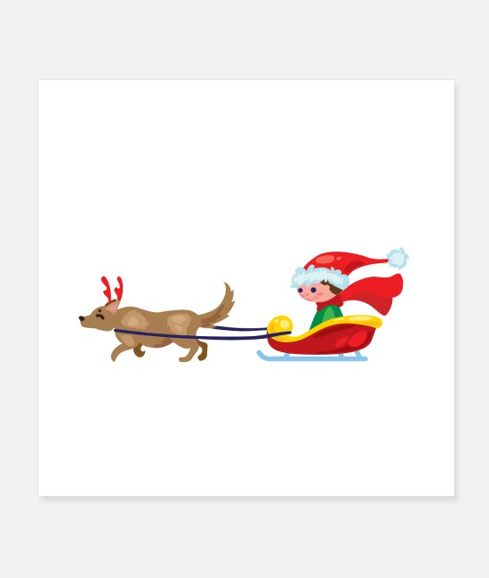 Winter Posters - Dog sleigh - Posters white