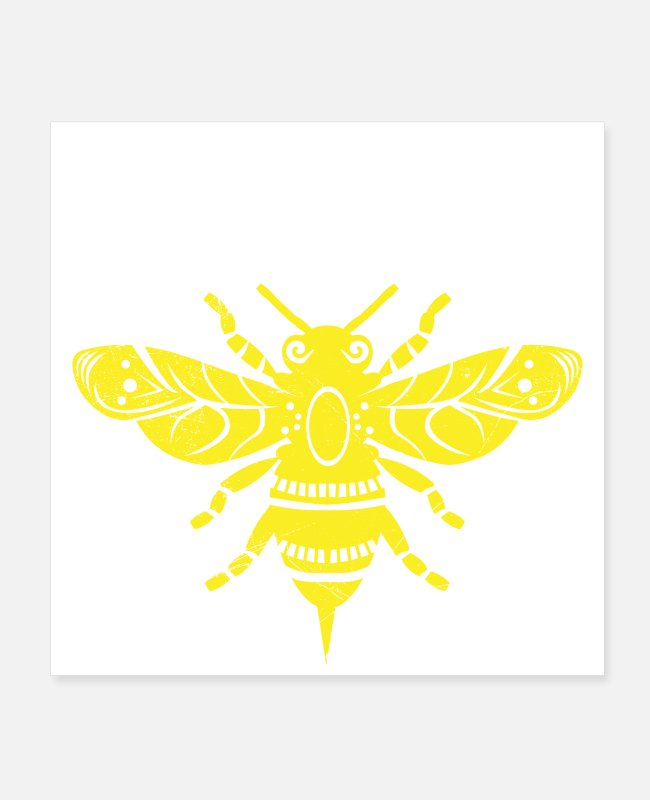 Bumble Bee Posters - Tattoo Animals Be Happy Bee Gift Idea - Posters white