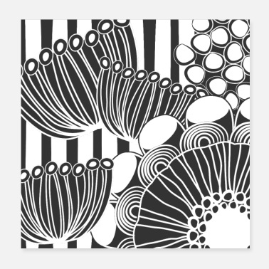 Decoration Floral Design 4 in Black and White - Poster