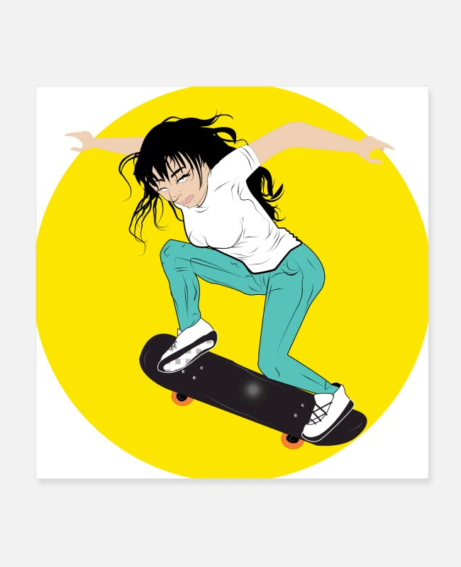 Girl Skating Posters - Skateboarding girl vector art - Posters white