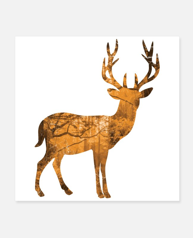 Stag Posters - Double Exposure Animals Deer Gift Idea - Posters white