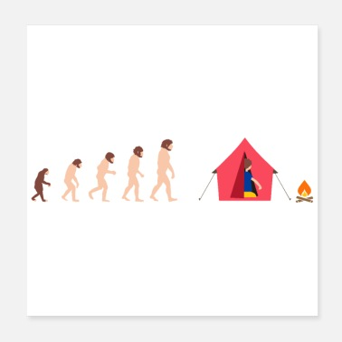 Darwin Human Evolution Camper Camping Funny Gift Idea - Poster