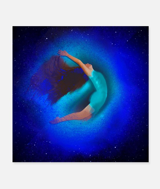 Free Fall Posters - free fall , dancer, flying, universe, stars ,woman - Posters white