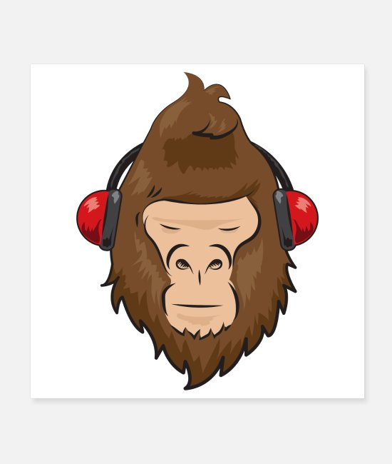Headphones Posters - Gorilla Music Headset Music Lover Funny Gift Idea - Posters white
