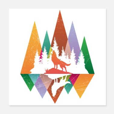 Rights Forest Animals Wolf Flat Design Gift Idea - Poster