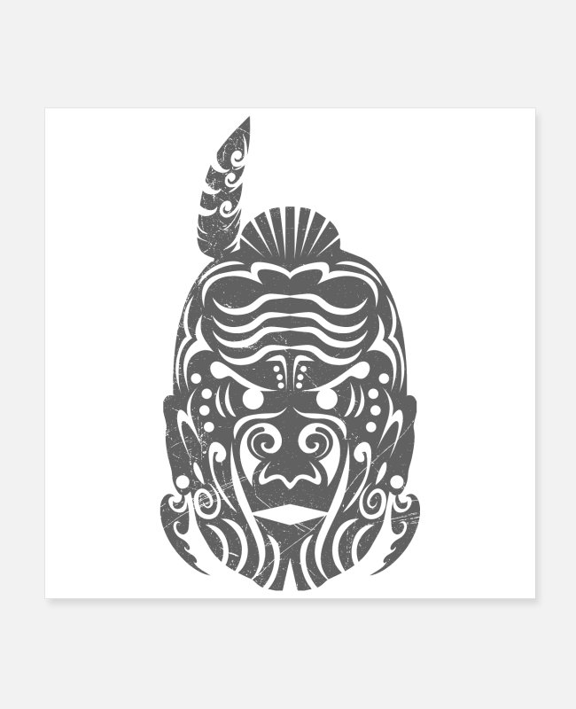Boss Posters - Maori Chief Gray Tribal Tattoo Gift Idea - Posters white