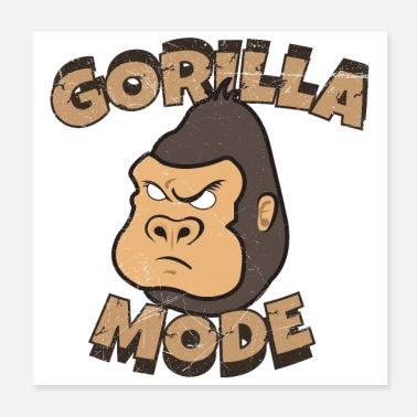 Reggaeton Cute Animals Gorilla Mode Funny Gift Idea - Poster