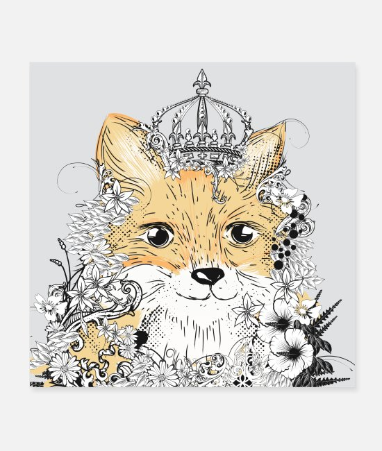 Cute Posters - small fox with a floral crown - Posters white