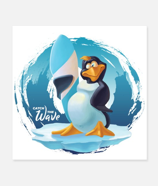 Water Posters - Catch the wave cool Penguin - Posters white