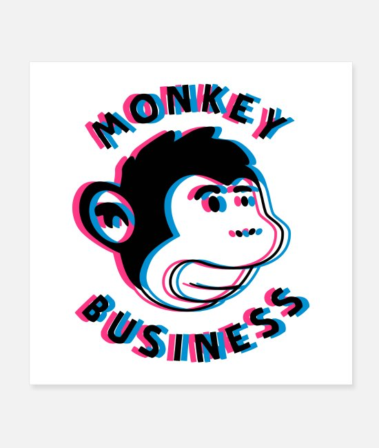 3D Posters - Monkey Business 3D Poster - Posters white