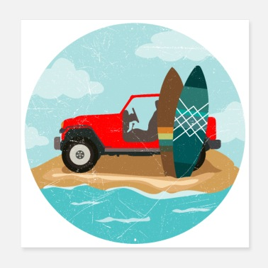 Surfboard Surfing Wave Jeep and Surfboard Surfer Gift Idea - Poster