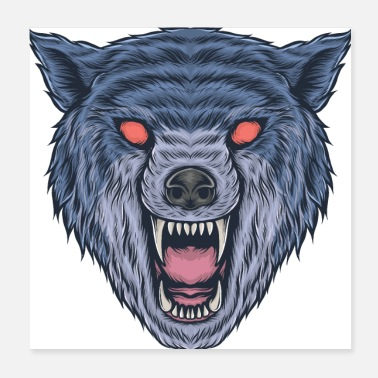 Aggressive Evil Wolf Wild Danger Face Mask Corona - Poster