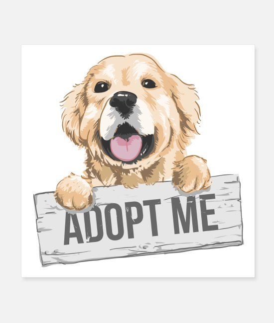 Retriever Posters - Adopt Me Golden Retriever Puppy Cute Dog - Posters white