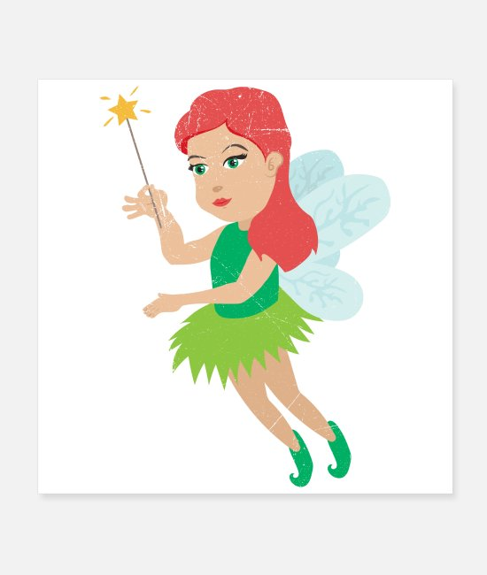 Cute Posters - Fairy with wings and magic stick funny gift idea - Posters white