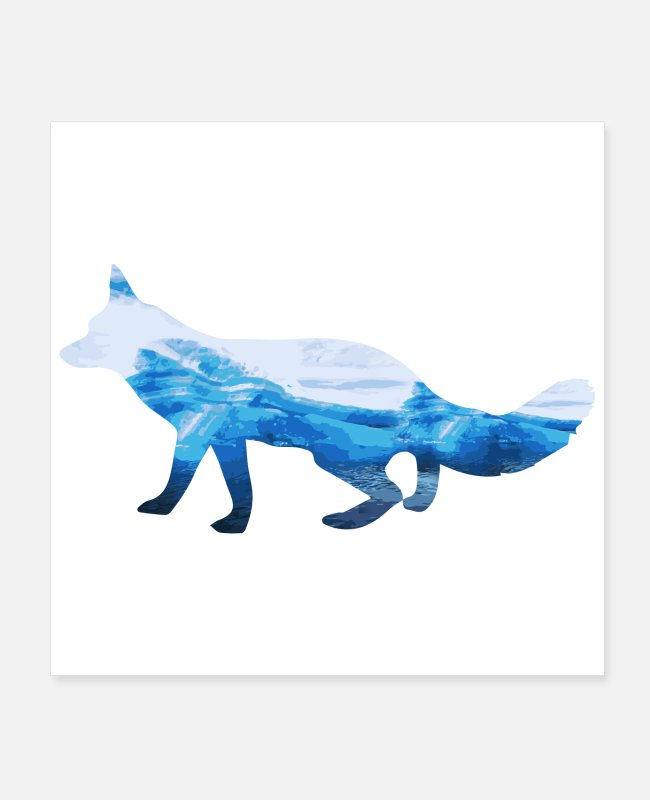 Belfast Posters - Double Exposure Animal Arctic Fox Funny Gift Idea - Posters white