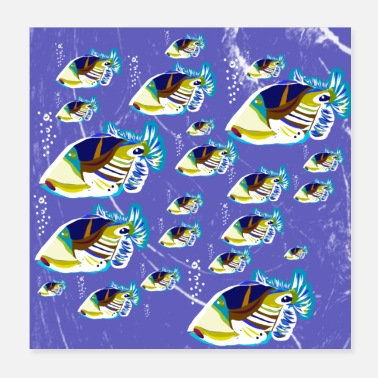 Motto Clownfish fish swarm ocean life motto in the sea - Poster
