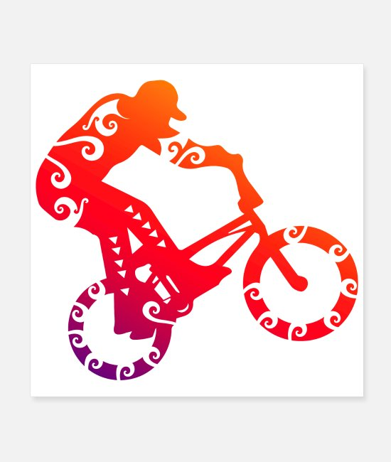 Bicycle Motocross Posters - Maori BMX Bike Motocross Tribal Tattoo Gift Idea - Posters white