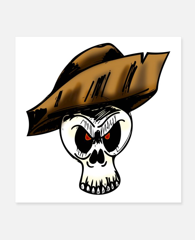 Pirate Flag Posters - pirate skull 2 - Posters white