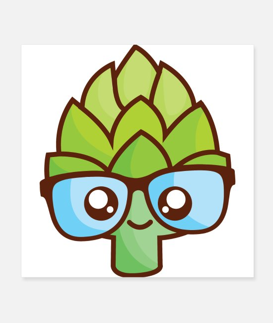 Broccoli Posters - Pretty Romanesco with sweet glasses - Posters white