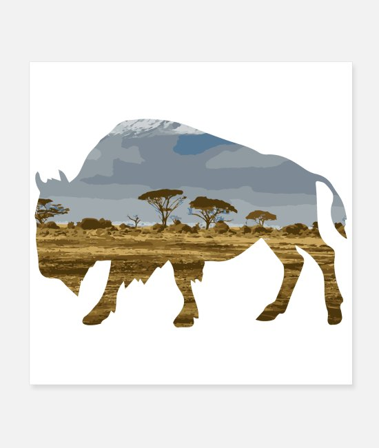 Yellowstone National Park Posters - Double Exposure Animal Bison Gift Idea - Posters white
