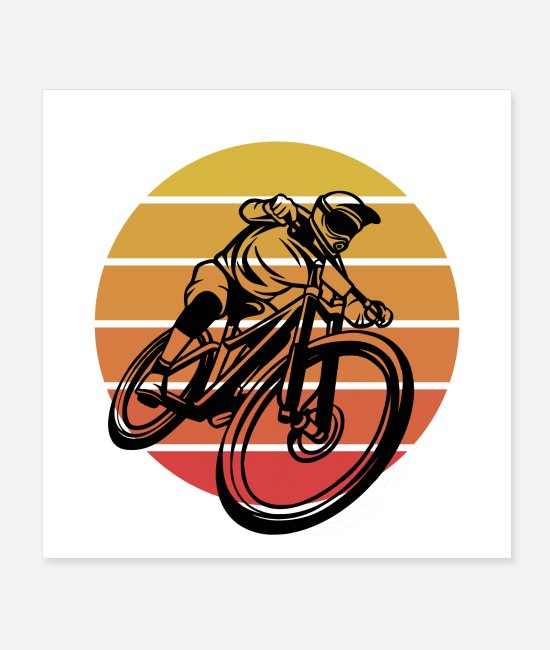 Race Track Posters - Motocross Sunrise Sunset Retro Biking - Posters white