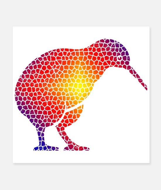 New Zealand Posters - Mosaic Kiwi Bird New Zealand Gift Idea - Posters white