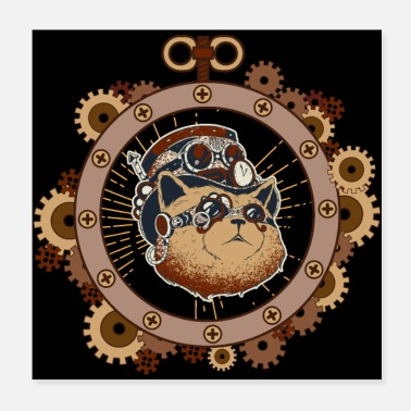 Fiction Steampunk Cat Art Science Fiction - Poster