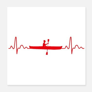 Rudder Canoe Heartbeat Rowing Funny Gift Idea - Poster