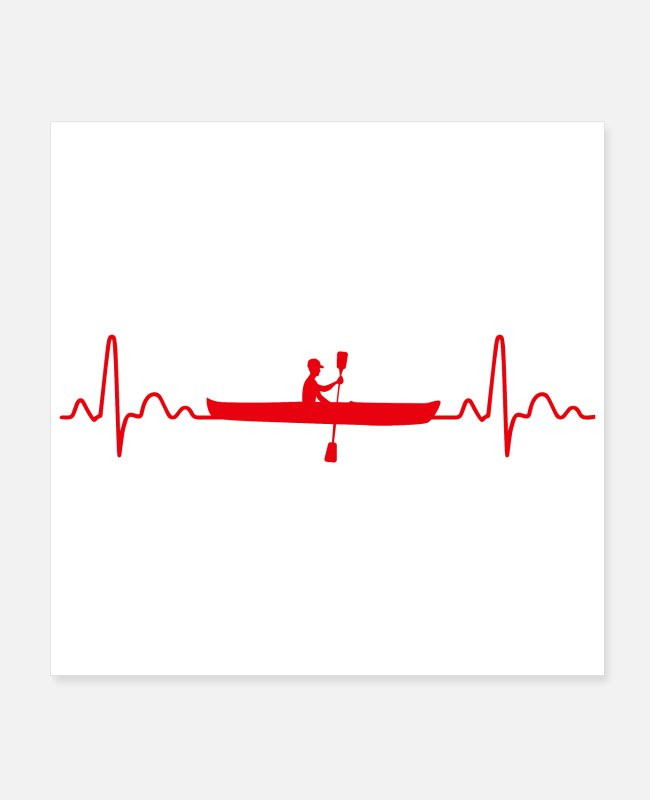 Water Posters - Canoe Heartbeat Rowing Funny Gift Idea - Posters white