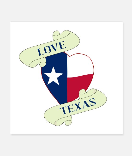 Heart Rate Posters - Love Texas Heart And Scroll - Posters white